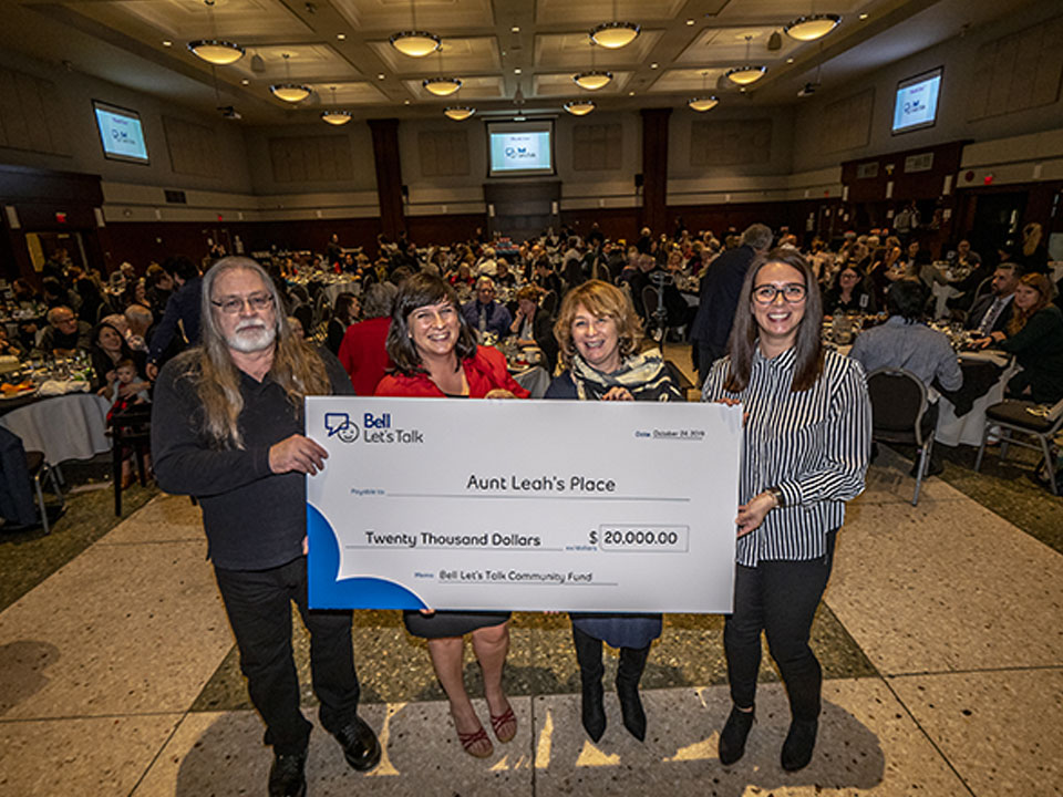 Aunt Leah's Place receives a $20,000 Bell Let's Talk Community Fund Grant to expand youth mental health counselling in partnership with Dan's Legacy Foundation
